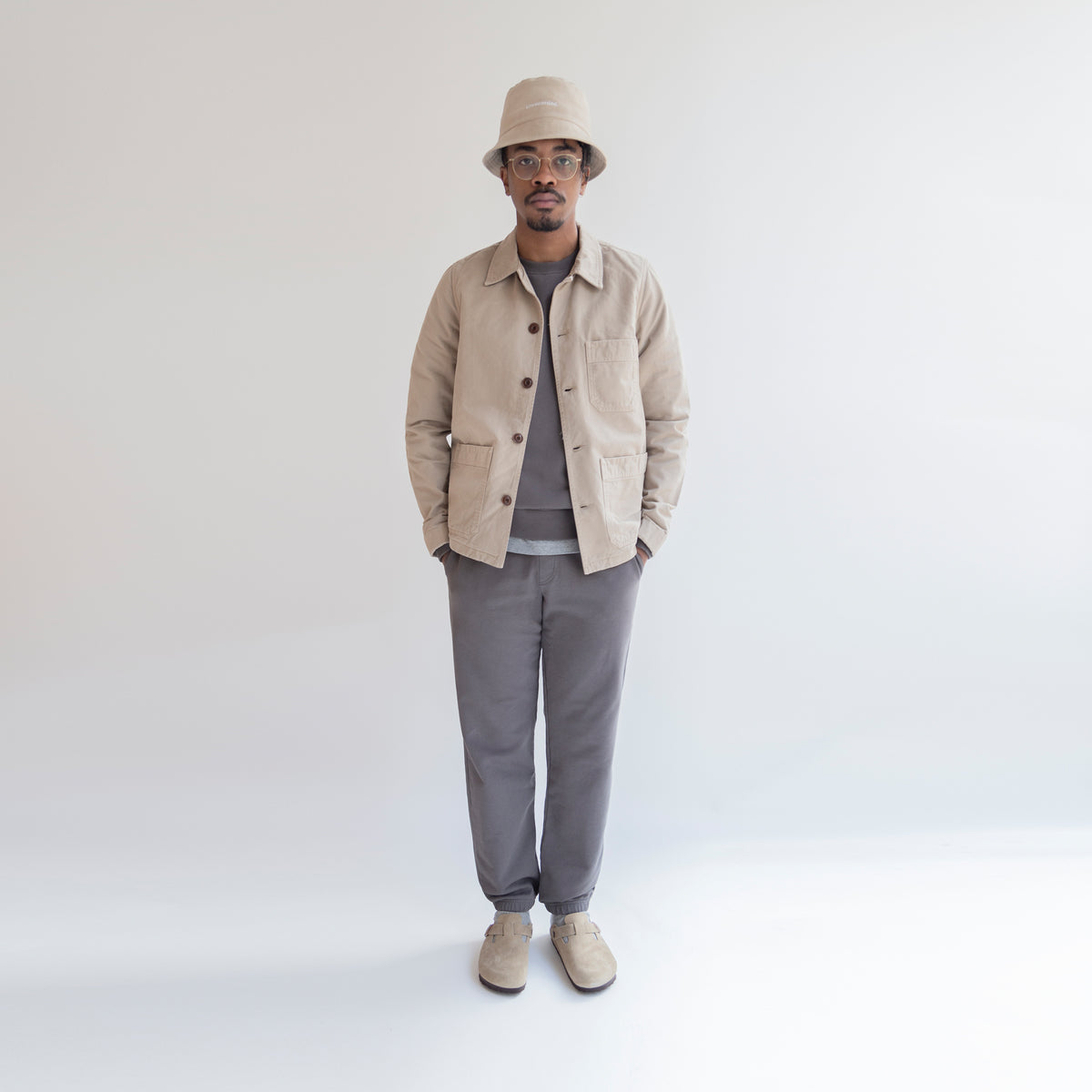 Worker Jacket in Khaki made from organic cotton - Front Men - Only Men