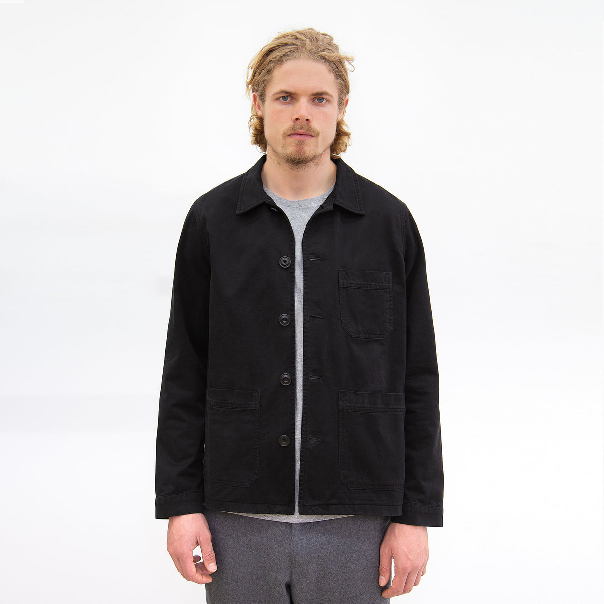 Worker Jacket in Black made from organic cotton - Front Men