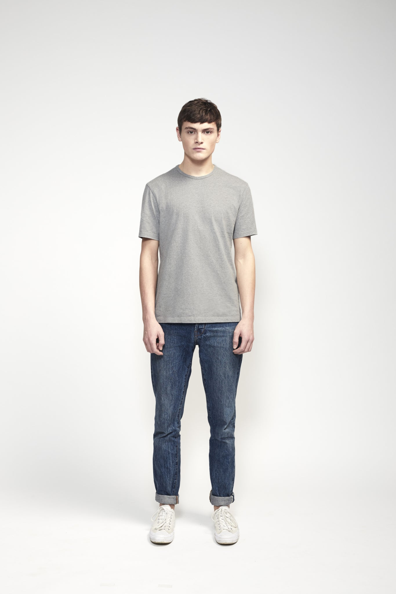 T-Shirt 180 GSM in Grey made from organic cotton - Front Men