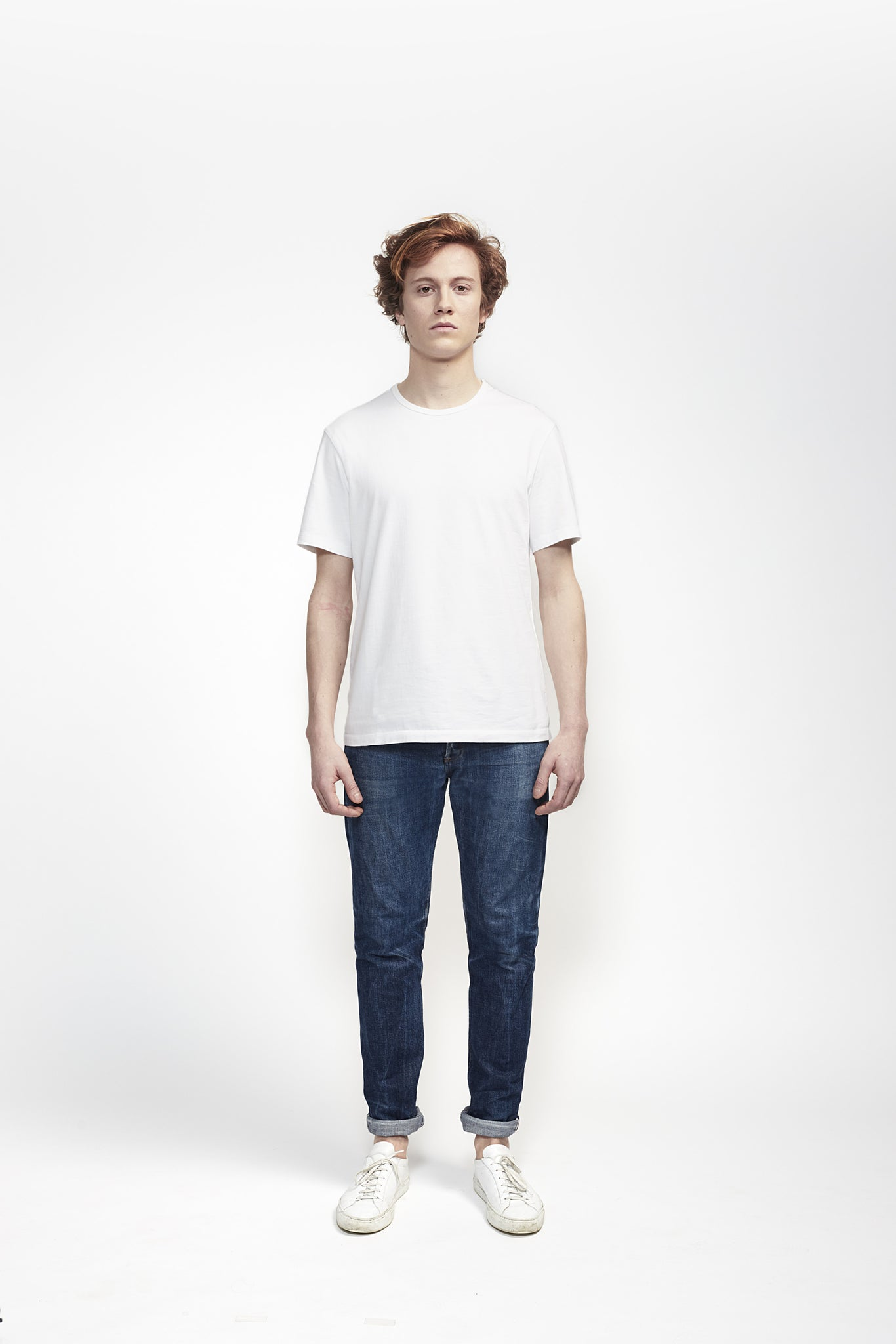 T-Shirt 180 GSM in White made from organic cotton - Front Men