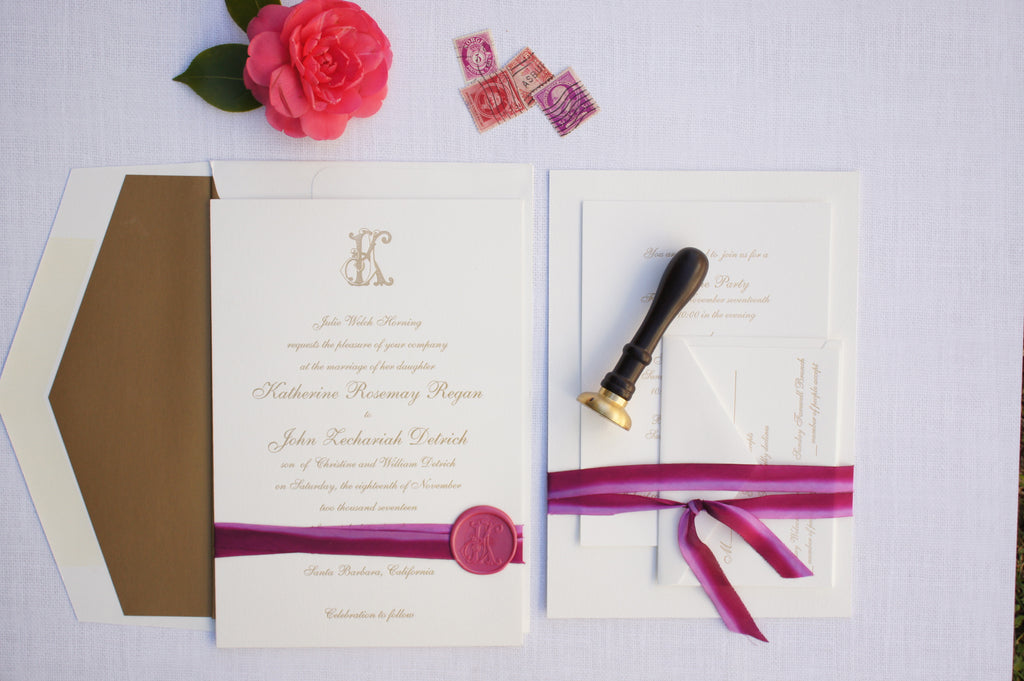Elegant Santa Barbara Wedding Invitation with Custom Monogram