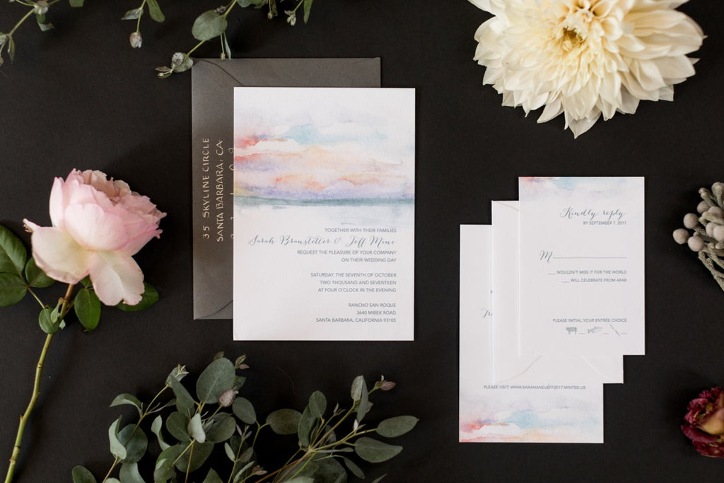 Watercolor Stationery for a Santa Barbara Wedding