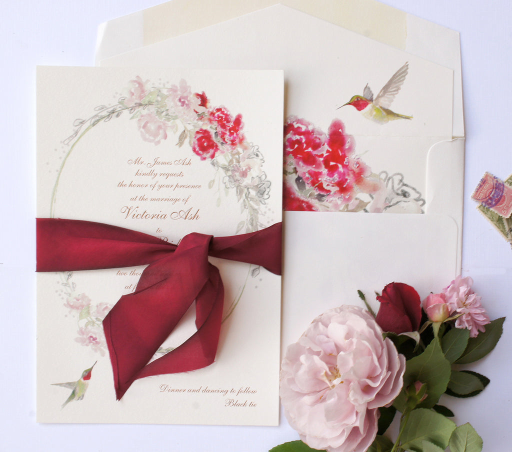 Hand painted watercolor floral wedding invitation with hummingbird by Honey Paper. www.honey-paper.com