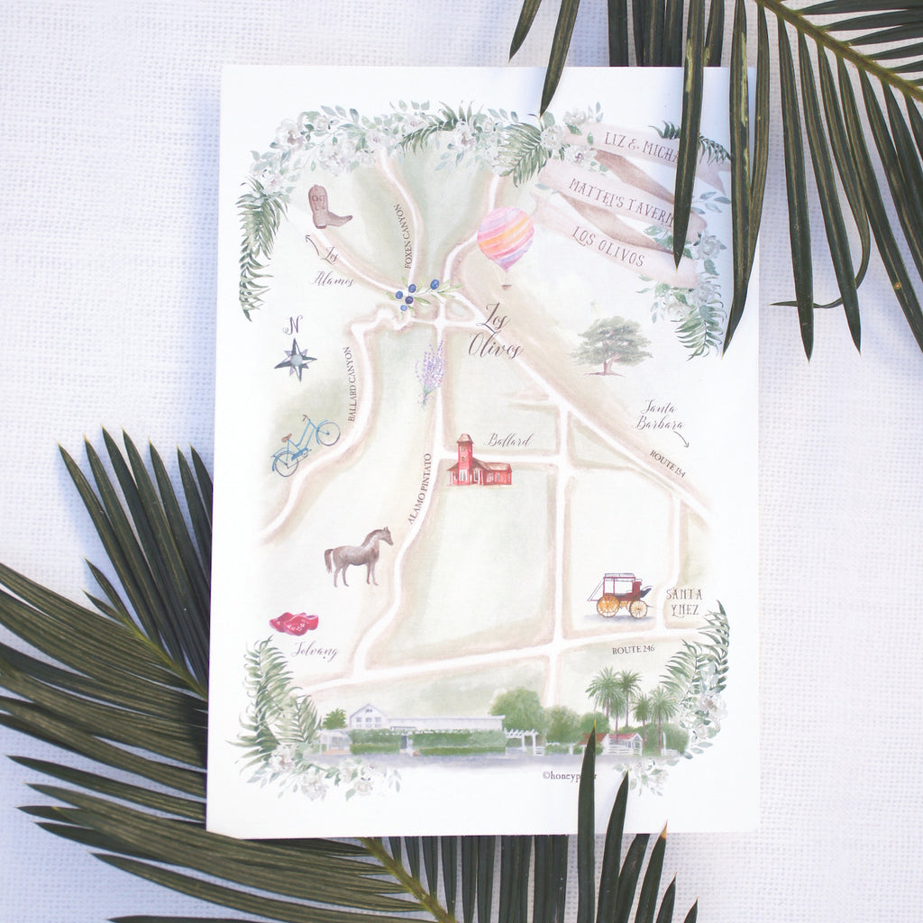 A wedding celebration at matteis tavern under the palms stars hand painted watercolor map of los olivos by honey paper solutioingenieria Image collections