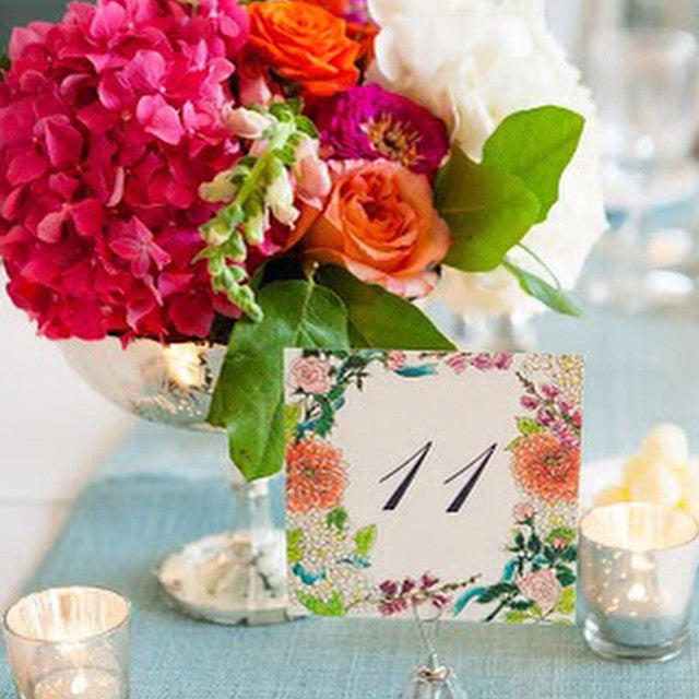 Watercolor wedding invitation suite | Collaboration with Honey Paper | Custom Table number with roses, zinnia and snapdragon design