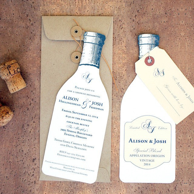 wine bottle die cut event stationery invitation by honey paper