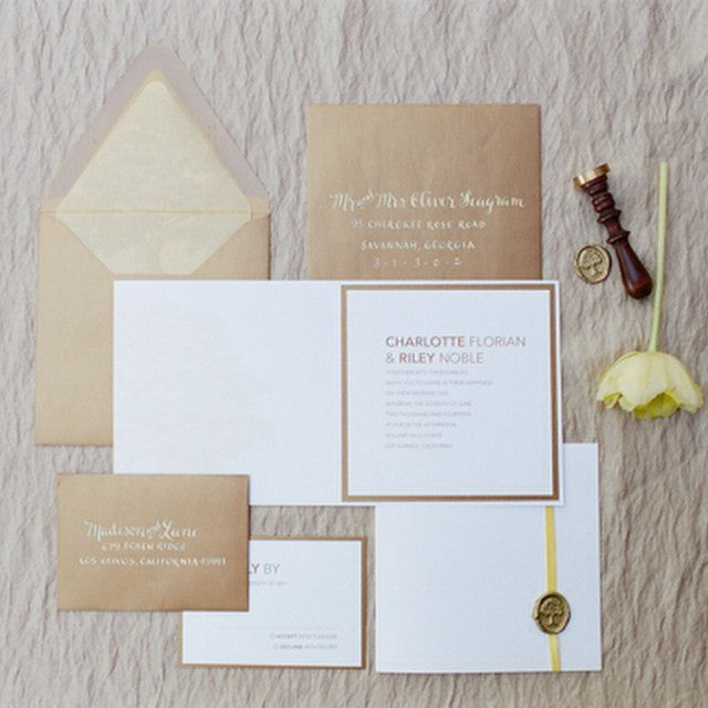 contemporary brown and gold invitation