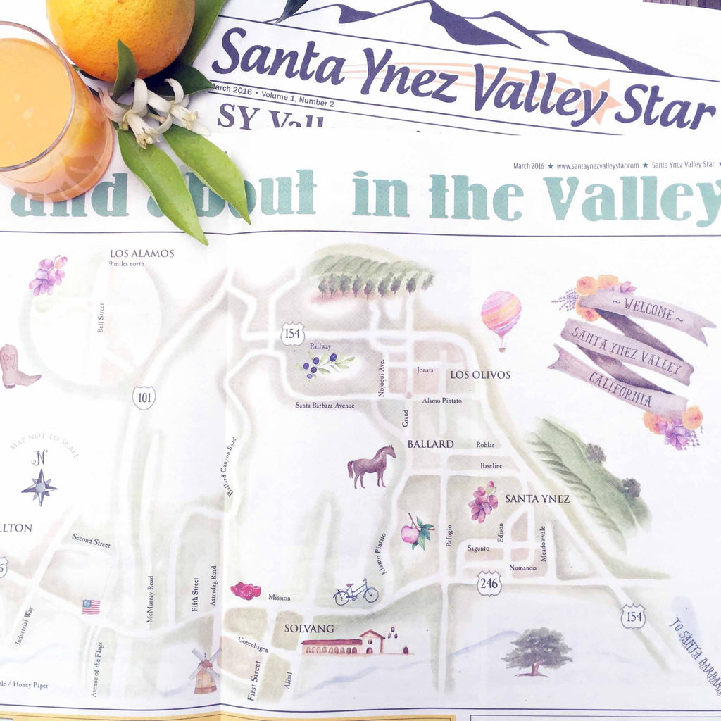 Santa Ynez Valley Star features custom map by Honey Paper