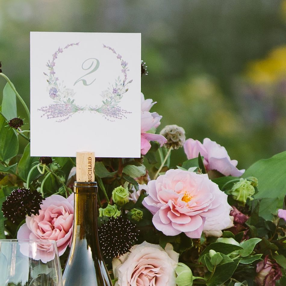 lavender wreath table number by Honey Paper