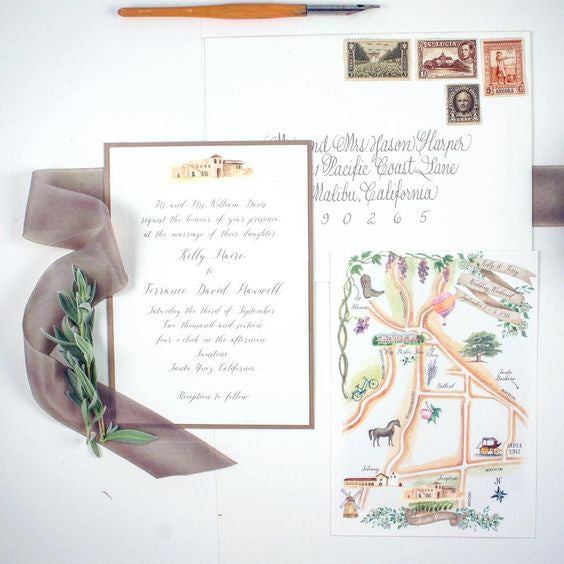 Hand Illustrated watercolor wedding invitation with map enclosure for guests