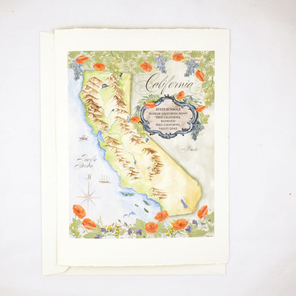 hand illustrated greeting card of California