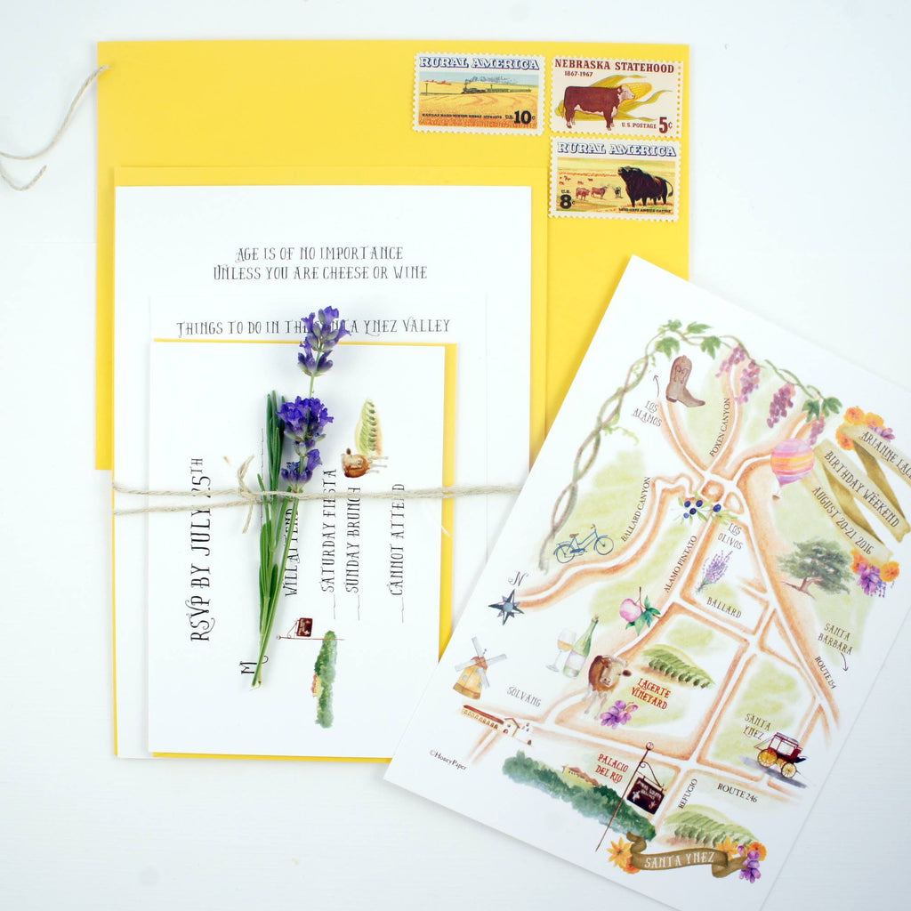 Invitation for destination event with hand illustrated map of Santa Ynez