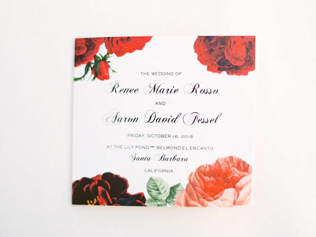 Red Rose Custom Wedding Invitation by @honeypaper