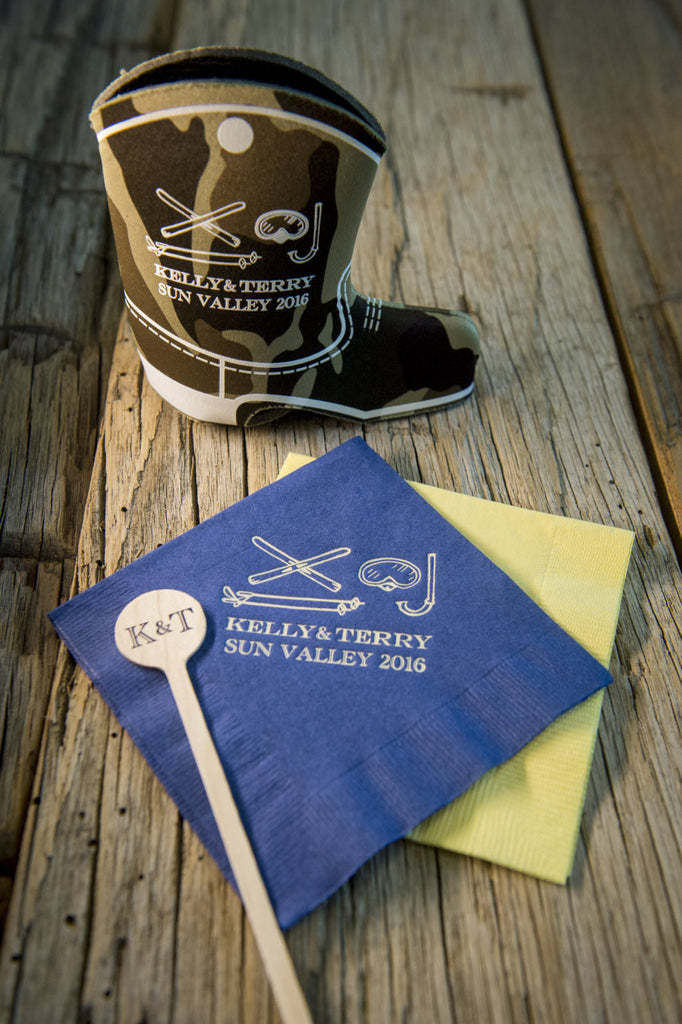 Sun Valley Idaho wedding favors featuring scuba gear and cowboy theme