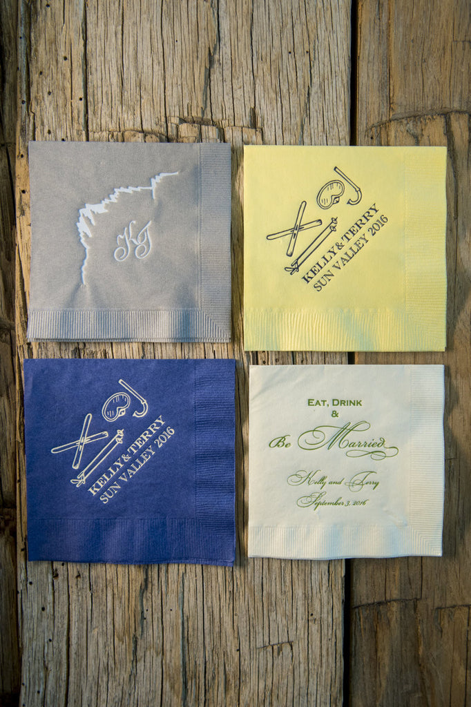Sun Valley Idaho wedding cocktail napkins with custom monogram and original illustration of mountains and scuba gear