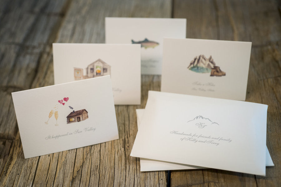 Sun Valley Idaho wedding stationery invitation with original watercolor illustrations of local destinations