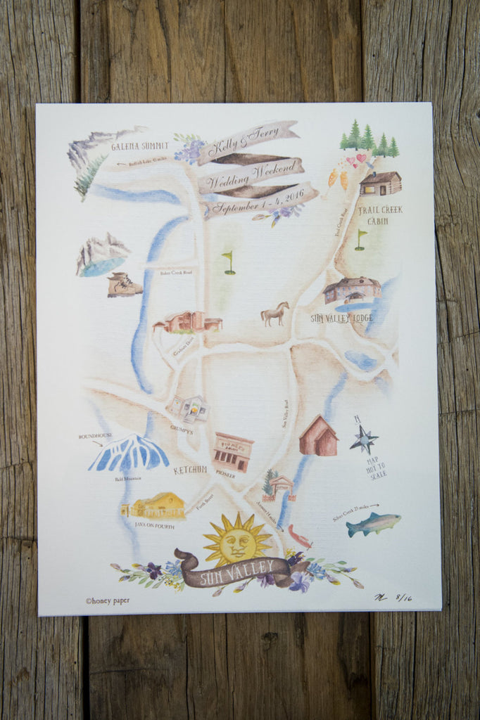 Sun Valley Idaho wedding map and invitation with original watercolor illustration of mountains