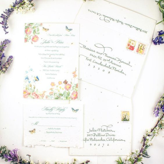 Spring plantable garden invitations for beautiful Santa Barbara wedding | Custom invitations @honeypaper