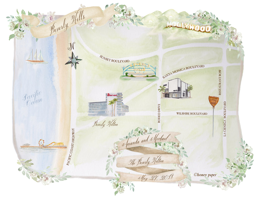 Beverly Hills Custom watercolor map by Honey Paper