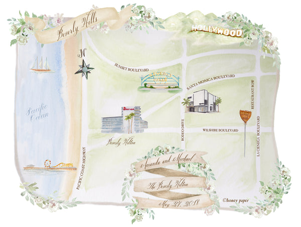 Wedding map invitation enclosure of Beverly Hills