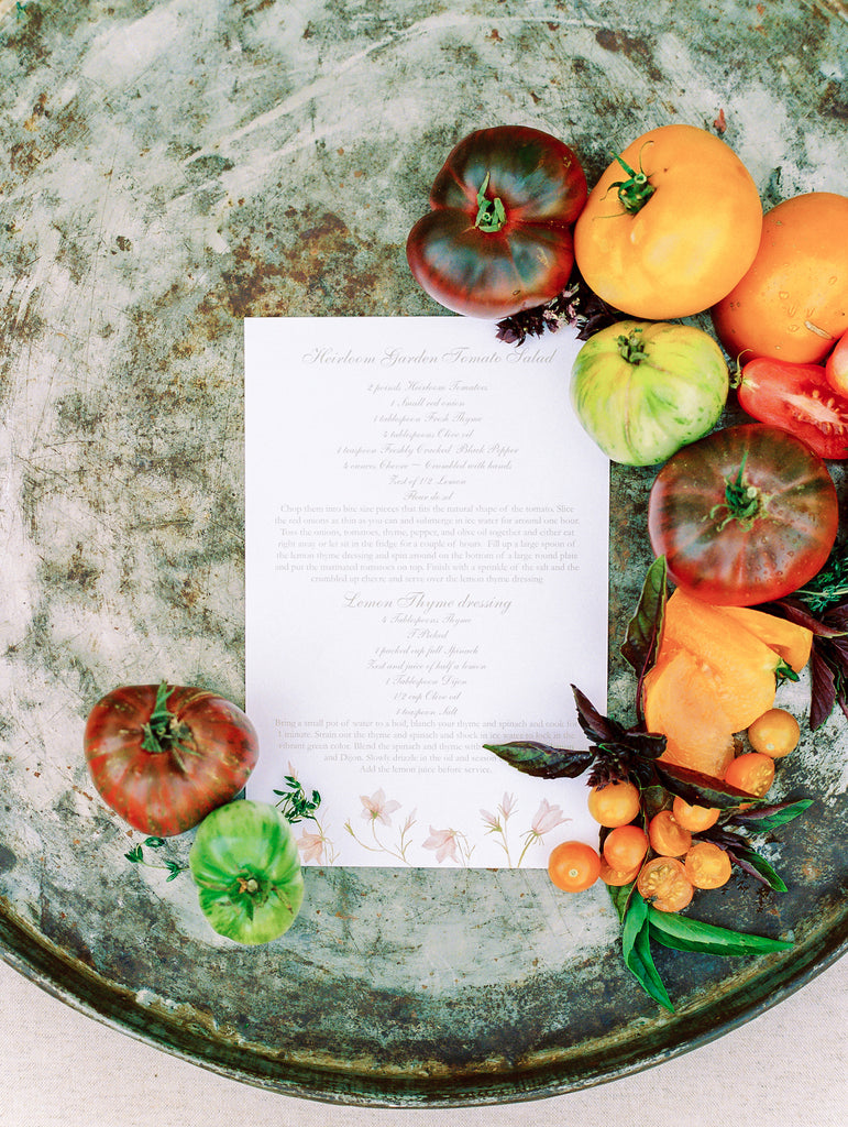 cocktail menu stationery for wine country wedding