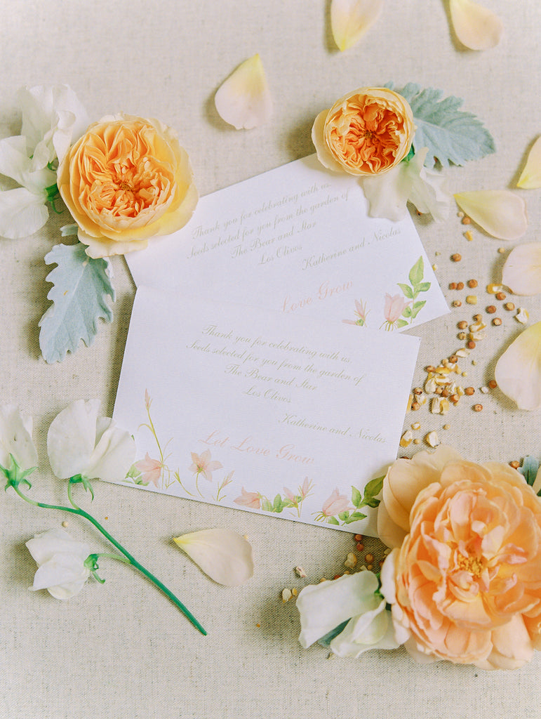 seed packets for spring wedding in Santa Ynez