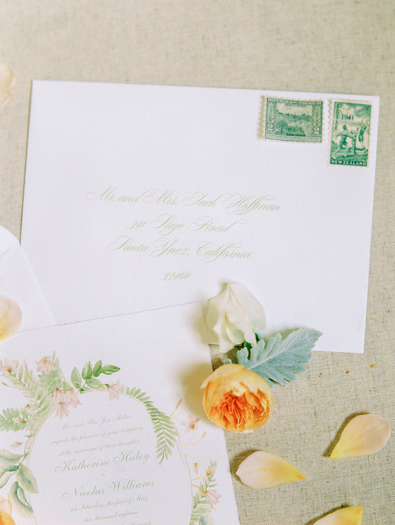 floral stationery suite with wreath