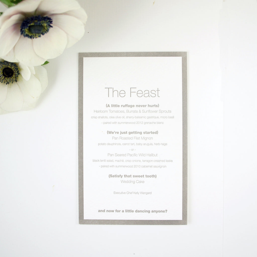 Contemporary Gray and white wedding suite menu with clever wording | Available at Honey Paper