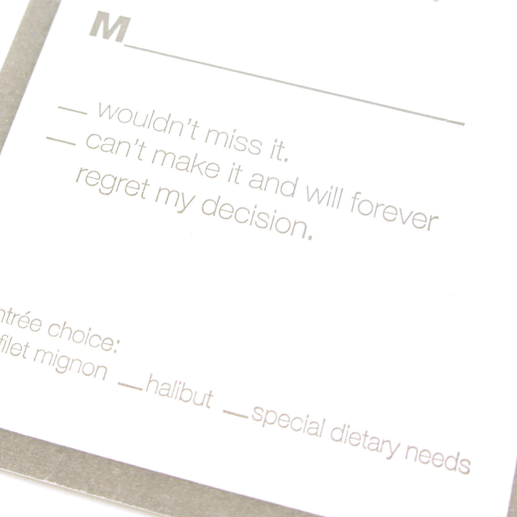 Contemporary Gray and white wedding suite reply detail with clever wording | Available at Honey Paper