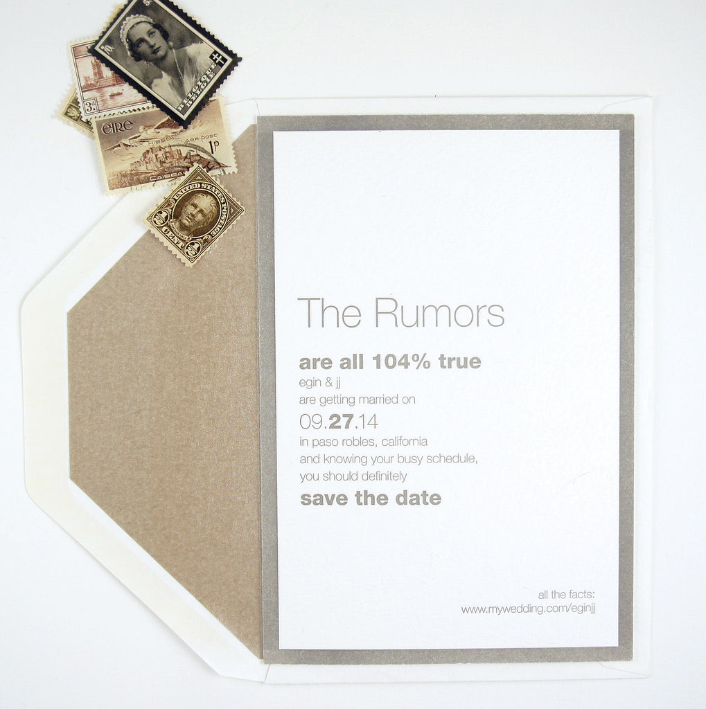 Contemporary Gray and white wedding suite with clever wording | Available at Honey Paper