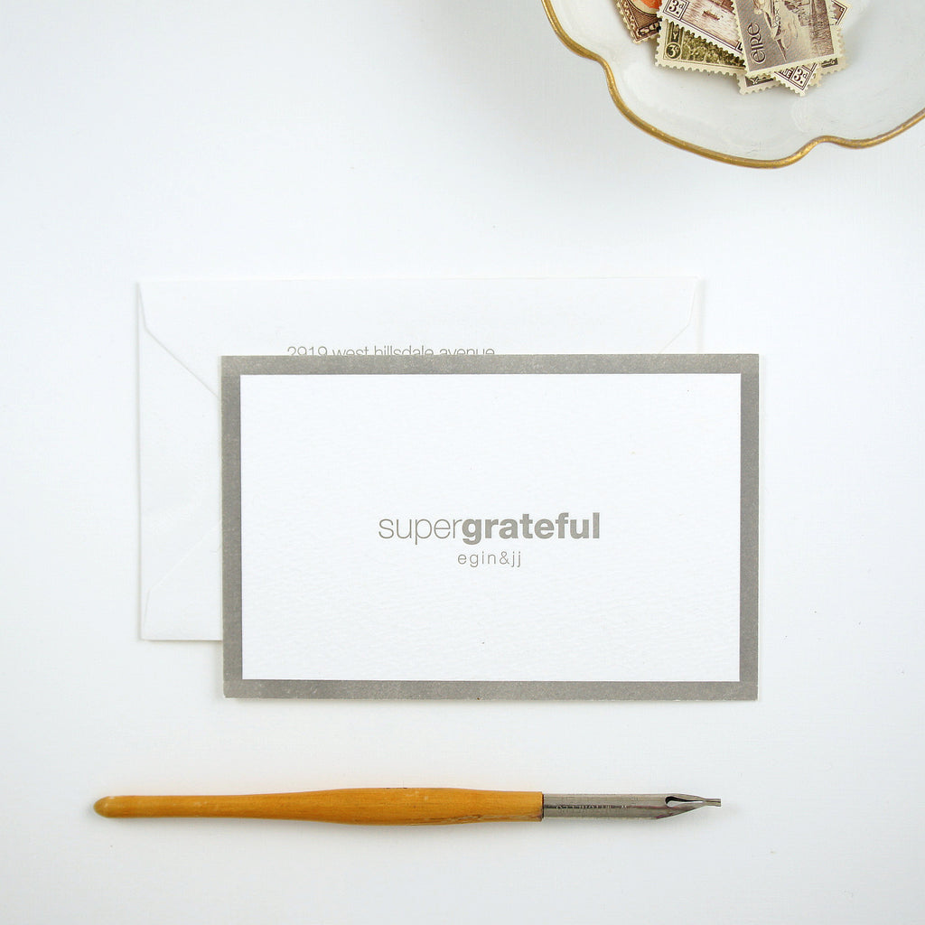 Contemporary Gray and white wedding thank you with clever wording | Available at Honey Paper