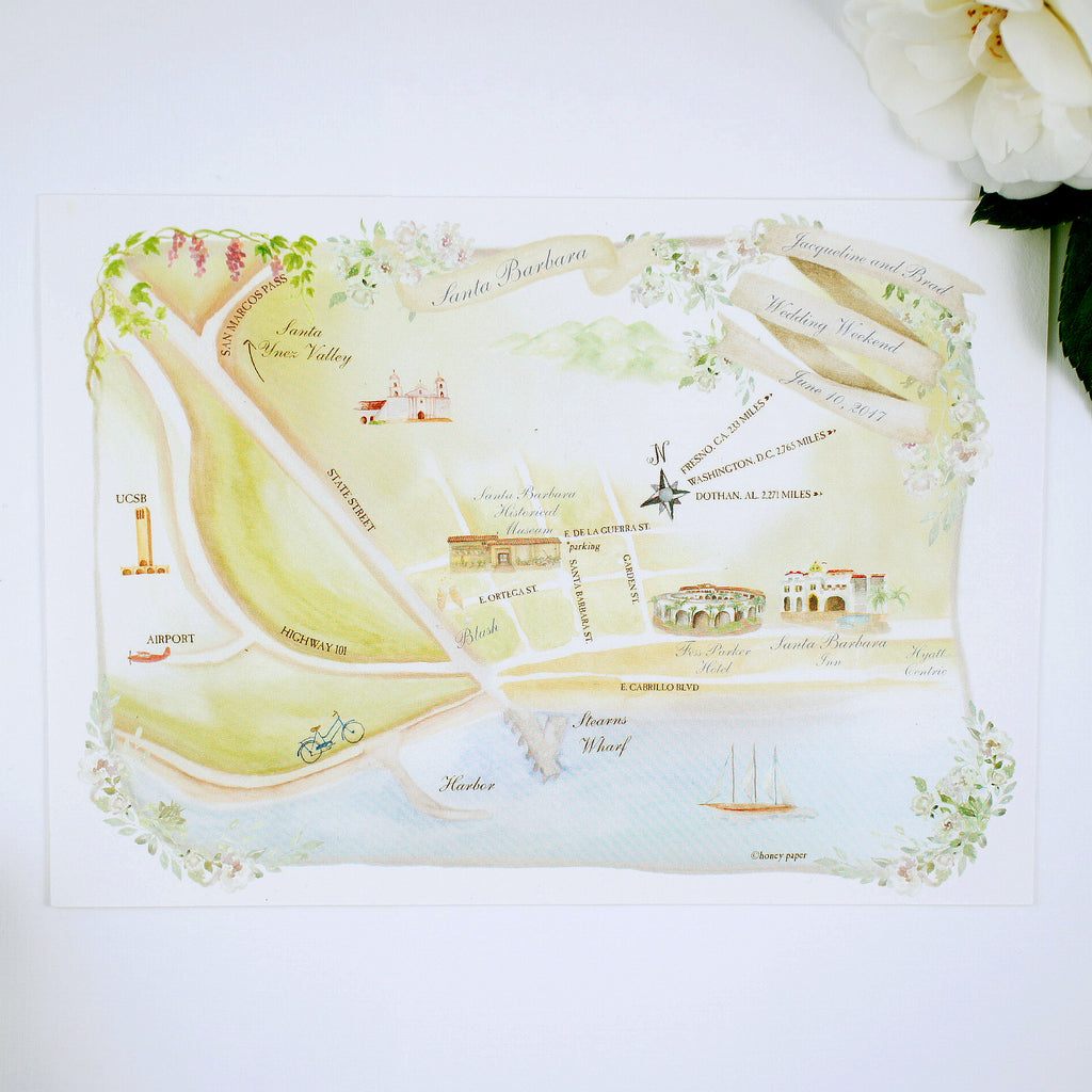 wine country wedding with custom watercolor map