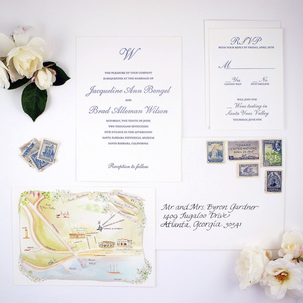 custom letterpress invitation suite with watercolor map of Santa barbara