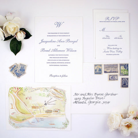 Wedding invitation and map in Santa Barbara