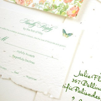 Spring plantable garden wedding invitations for Santa Barbara celebration | custom stationery @honeypaper