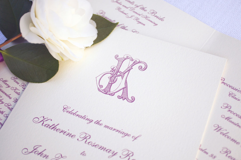 Santa Barbara wedding invitation with gold script and custom monogram. Stationery by Honey Paper www.honey-paper.com