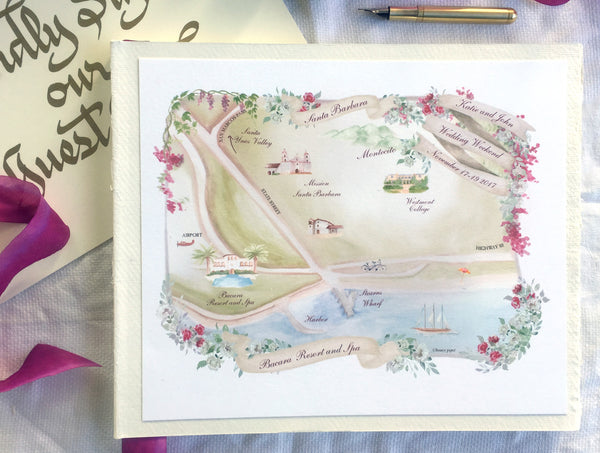Destination wedding map features resort highlights