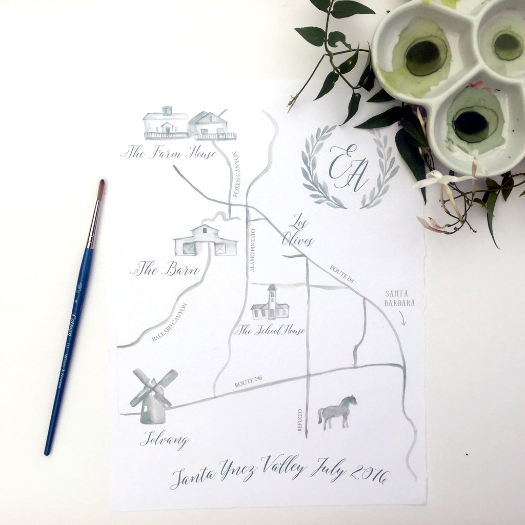 wedding map with custom wreath monogram by Honey Paper