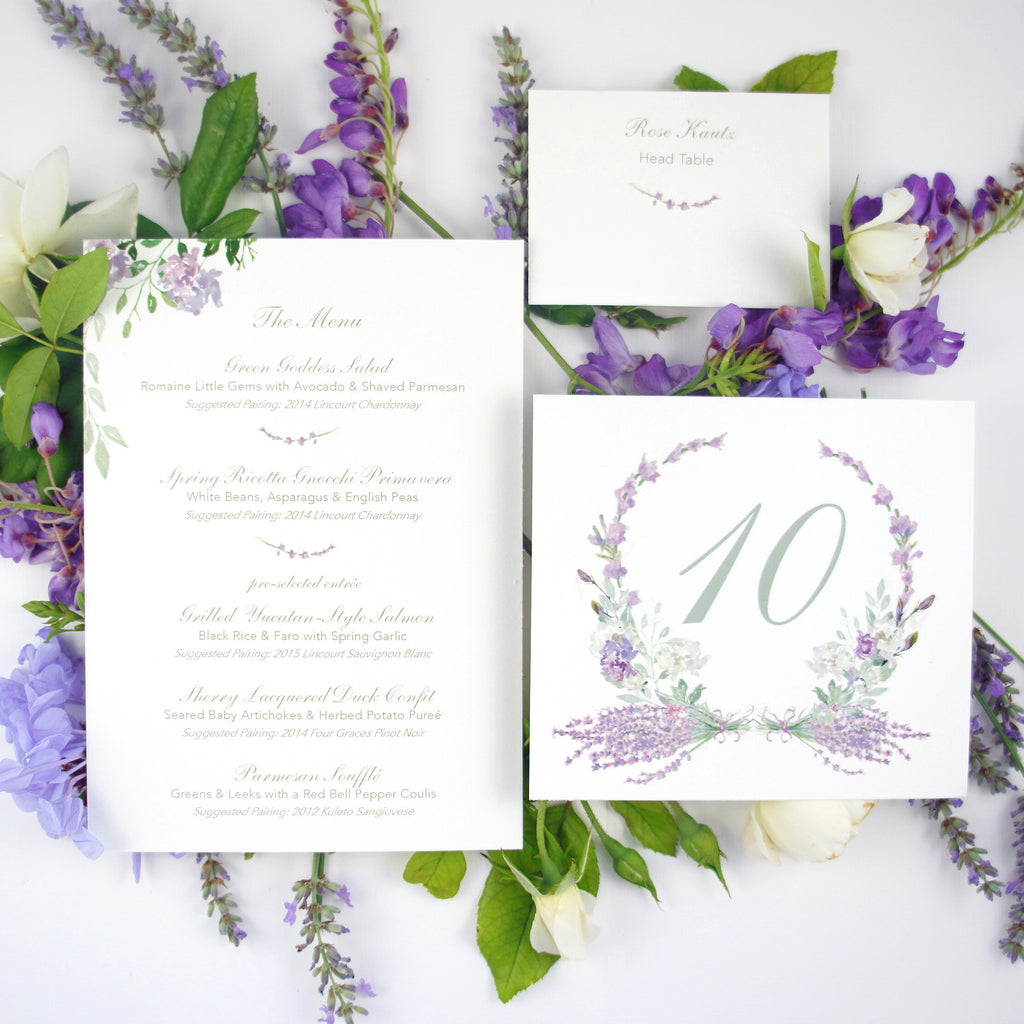 wedding table numbers in watercolor lavender floral wreath