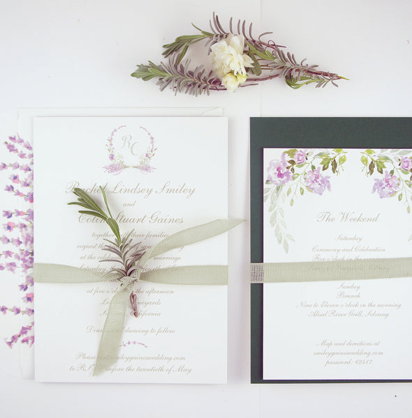 Custom lavender watercolor illustration wedding suite by Honey Paper
