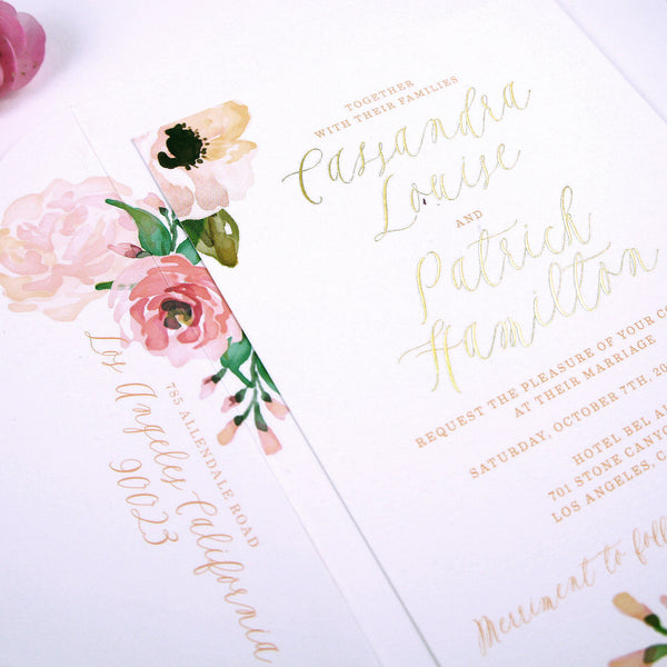 Ranuculous & Rose Watercolor Wedding Invitation Suite with Gold Foil