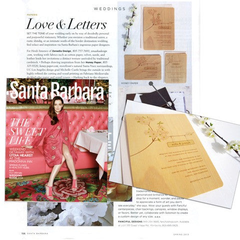 Honey Paper Feature in Santa Barbara Magazine