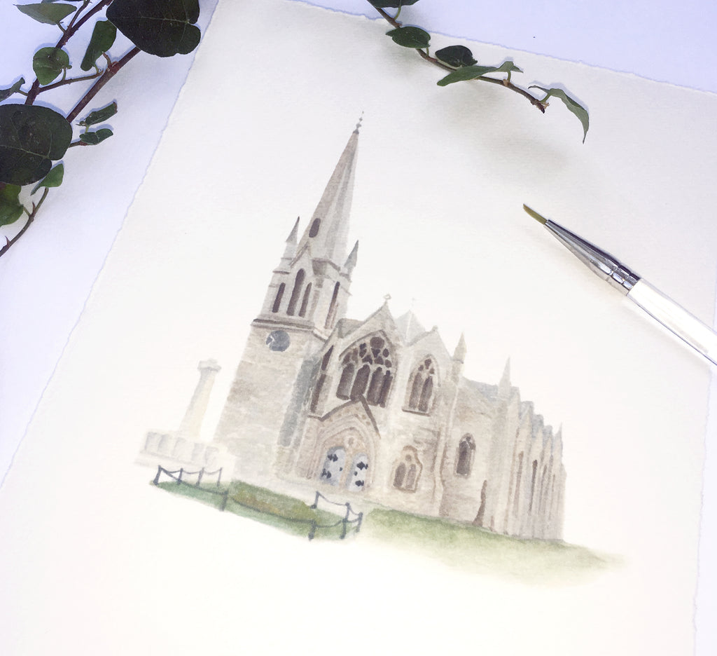 detail of cathedral for Honey Paper custom watercolor map