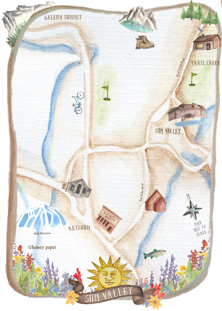 Hand illustrated map of Sun Valley, Idaho