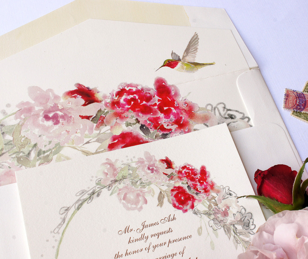 Ruby Throated Hummingbird Watercolor Wedding Invitation – Honey Paper