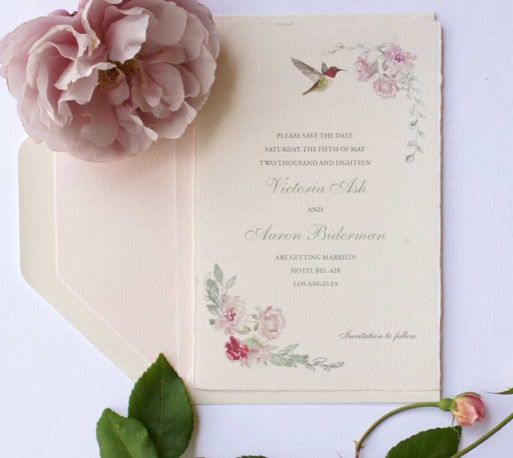 Hand painted watercolor floral wedding save the date with hummingbird by Honey Paper. www.honey-paper.com
