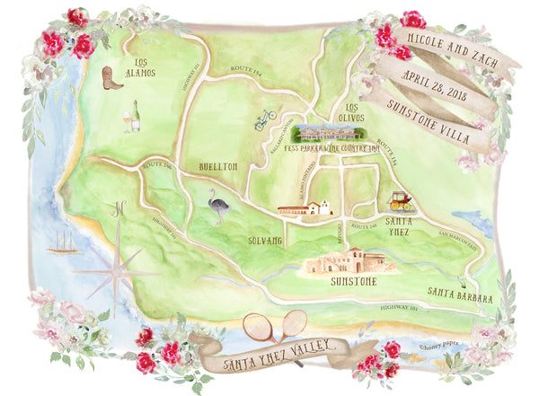 Custom wedding map features Santa Ynez Valley California