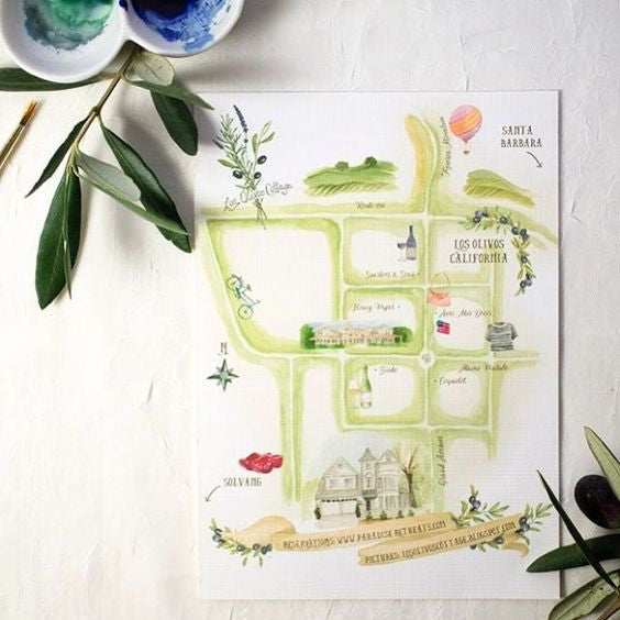 Hand illustrated map of Santa Ynez with local highlights