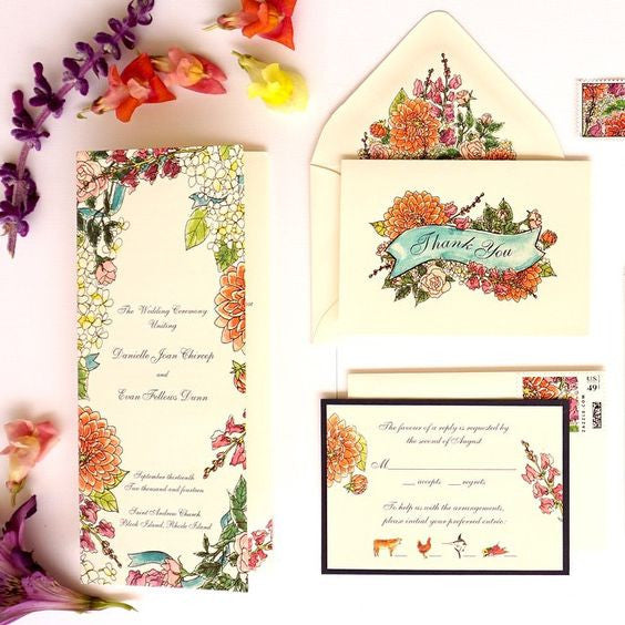 Watercolor wedding invitation suite | Collaboration with Honey Paper | Floral invitation with roses, zinnia and snapdragon design | Floral watercolor thank you card and suite