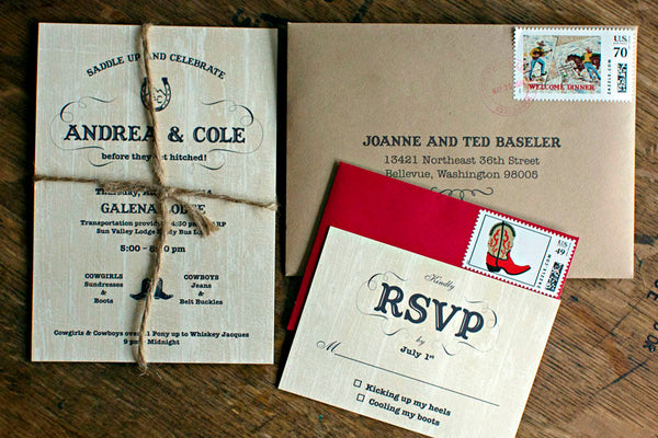 Sun Valley Western Motif Wedding Invitations